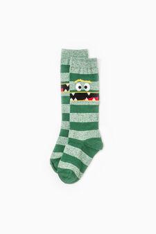 Two-pair pack long striped socks, Green, hi-res