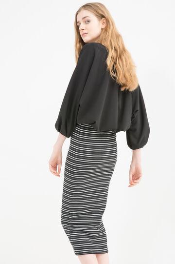 Stretch cotton striped pencil skirt, White/Black, hi-res