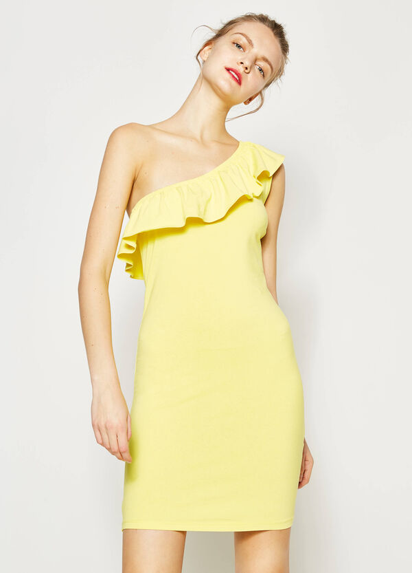 Dress with flounce and one shoulder strap | OVS