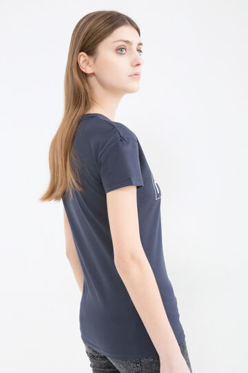 100% cotton T-shirt with printed lettering, Blue, hi-res