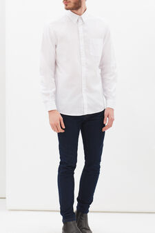 Plain shirt in regular fit, White, hi-res