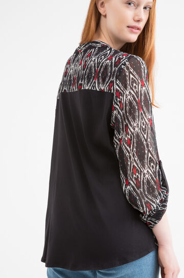 Curvy printed cotton shirt, Black, hi-res