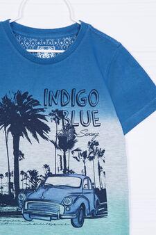 Printed cotton blend T-shirt, Light Blue, hi-res