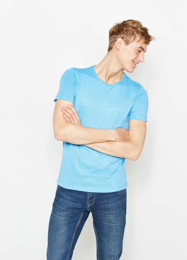 Camiseta en mezcla de algodón en color liso | OVS