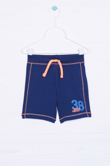 100% cotton Bermuda shorts with drawstring, Navy Blue, hi-res