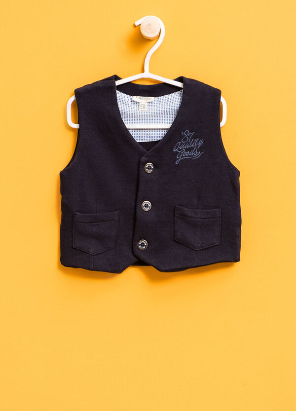100% cotton gilet with lettering embroidery | OVS