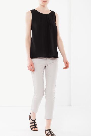Pleated sleeveless blouse, Black, hi-res