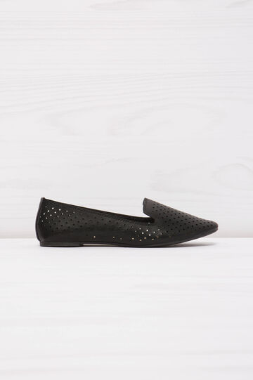 Solid colour slip-ons with openwork design, Black, hi-res