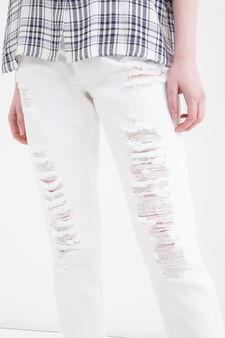 Jeans boyfriend con strappi, Bianco, hi-res