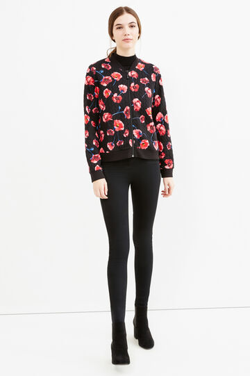 Sweatshirt with raised weave and floral print, Black, hi-res