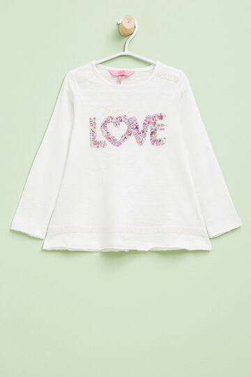 Long-sleeved T-shirt with raw edges, Milky White, hi-res