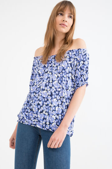 100% viscose patterned T-shirt, Blue/Purple, hi-res