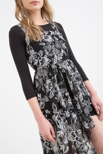 Sleeveless printed dress, Black, hi-res