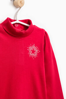 Diamanté T-shirt in 100% cotton, Red, hi-res