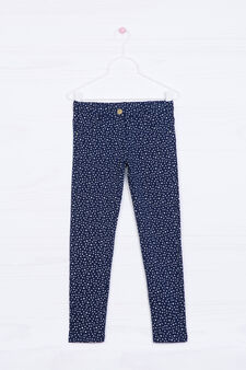 Polka dot stretch cotton trousers, Blue, hi-res