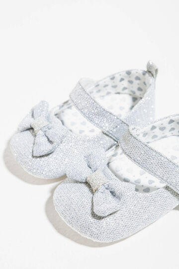 Glitter ballerina pumps with bow, Grey/Silver, hi-res