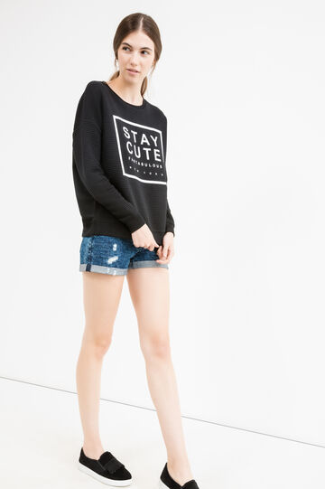 Striped viscose sweatshirt with printed lettering, Black, hi-res