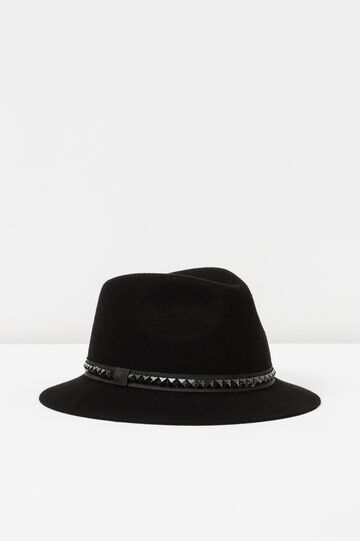 Wide-brimmed hat with studs, Black, hi-res
