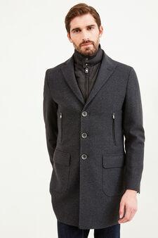 Wool blend coat with lapels, Dark Grey, hi-res