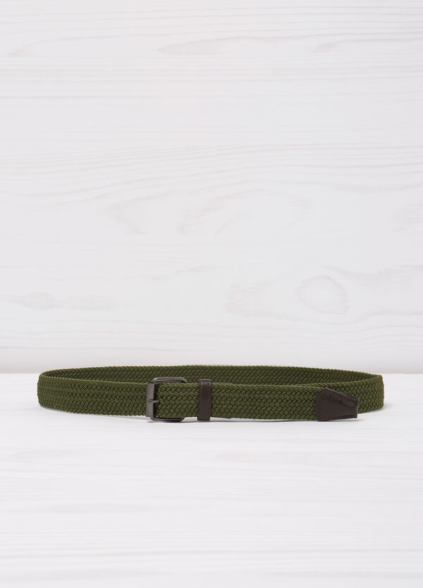 Woven belt with leather look details | OVS