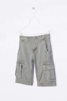 Bermuda cargo shorts in 100% cotton, Green, hi-res
