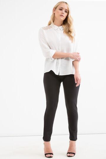 Curvy 100% linen shirt, Milky White, hi-res