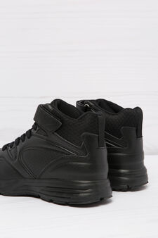 Solid colour high-top sneakers, Black, hi-res