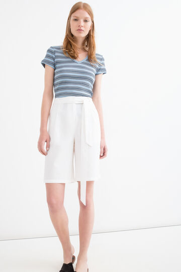 Solid colour linen blend Bermuda shorts, White, hi-res