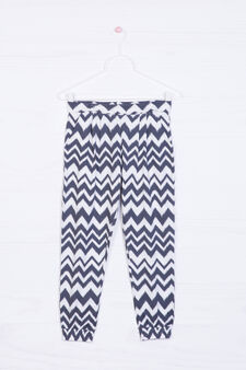 Cotton blend patterned trousers, Soft White, hi-res