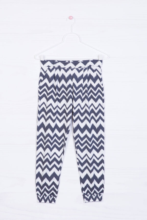 Cotton blend patterned trousers | OVS
