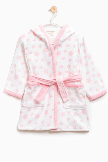 Accappatoio puro cotone fantasia, Bianco/Rosa, hi-res
