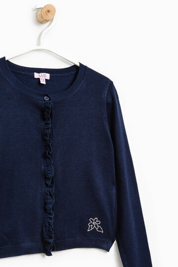 Cardigan with diamantés and flounces, Blue, hi-res