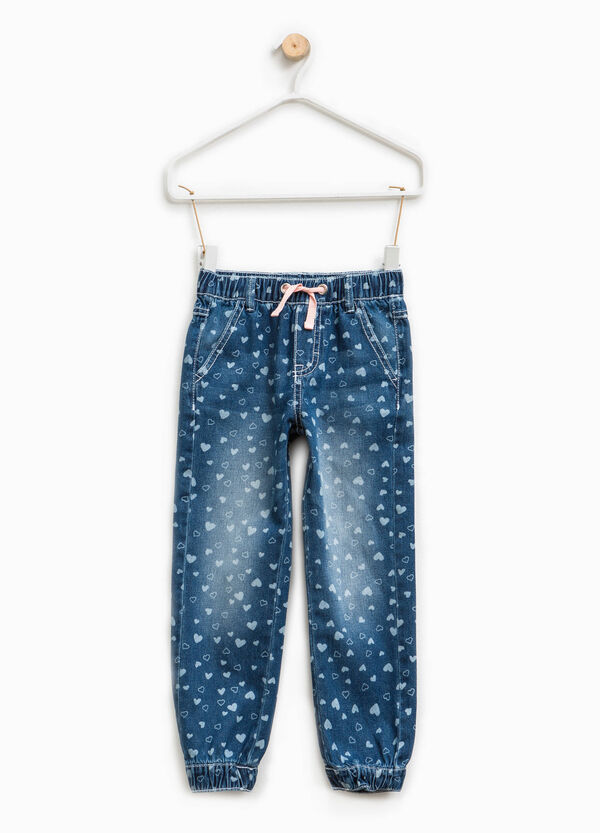 Washed-out-effect patterned jeans | OVS