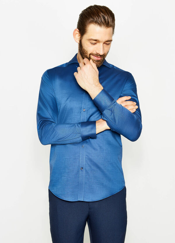 Solid colour slim-fit cotton formal shirt | OVS