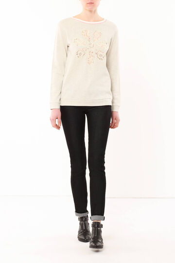 Cotton sweatshirt, Light Beige, hi-res