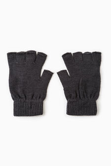 Fingerless gloves with ribbing, Black, hi-res