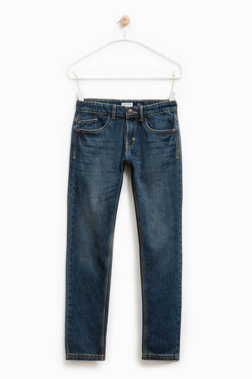 Worn-effect jeans with whiskering, Denim, hi-res