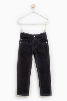 Solid colour ribbed trousers., Navy Blue, hi-res