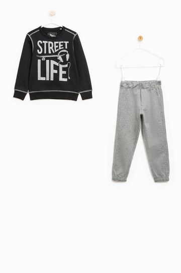 100% cotton tracksuit with printed lettering, Grey, hi-res