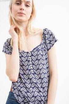 Patterned blouse in 100% viscose, Blue, hi-res