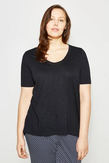 Curvy V-neck T-shirt, Black, hi-res