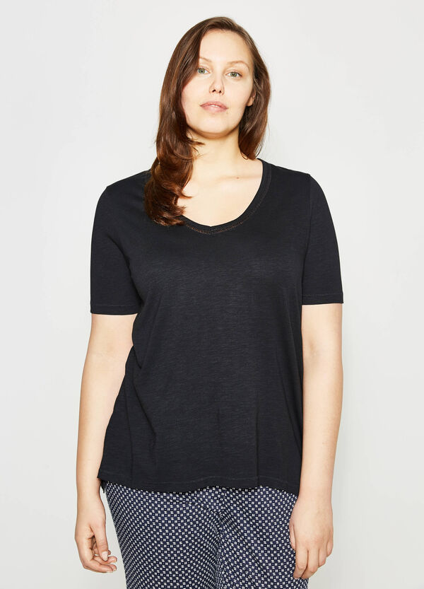 Curvy V-neck T-shirt | OVS