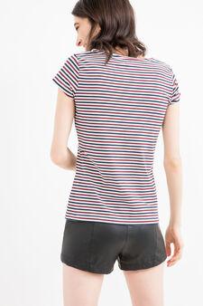 T-shirt stretch fantasia a righe, Rosso, hi-res