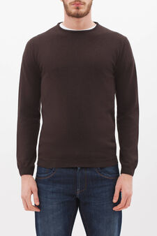 Crew neck pullover in silk and cashmere., Dark Brown, hi-res