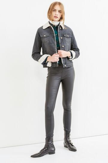 Giubbino di jeans stretch con taschini, Nero, hi-res