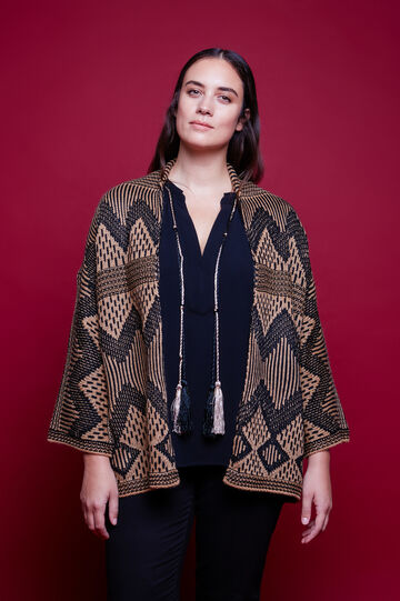 Curvy wool blend patterned cardigan, Multicolour, hi-res