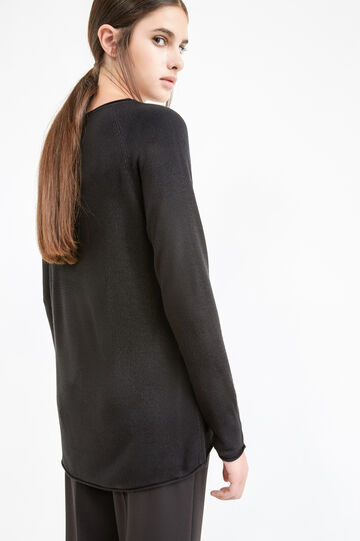 Crew-neck pullover with raw edges, Black, hi-res