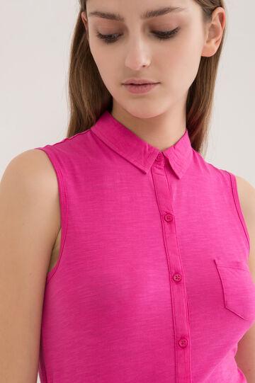Camicia smanicata puro cotone, Rosa fuxia, hi-res