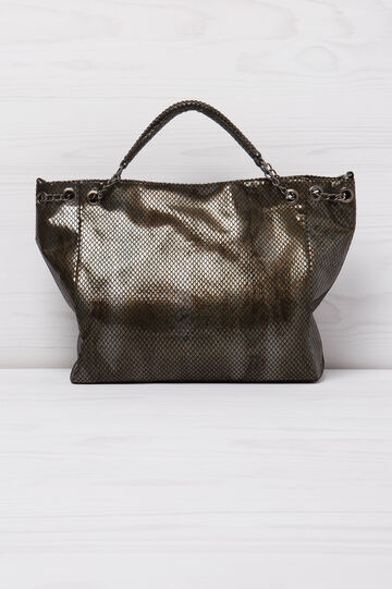 Snakeskin look shoulder bag, Brown, hi-res
