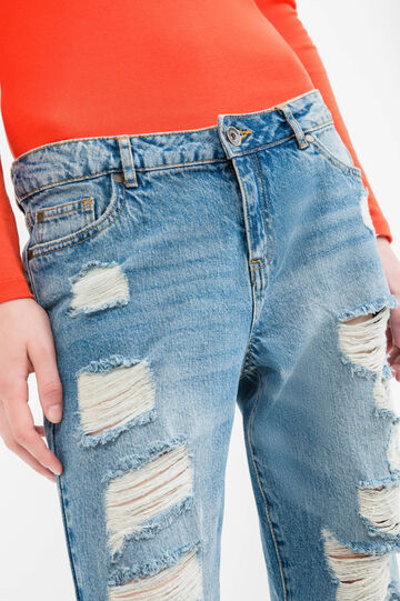Used-effect, ripped girlfriend jeans, Medium Wash, hi-res